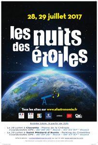 Affiche des nuits des étoiles 2017 organisées par Astraunis en Charente Maritime