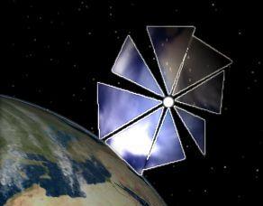 un satellite avec voile solaire